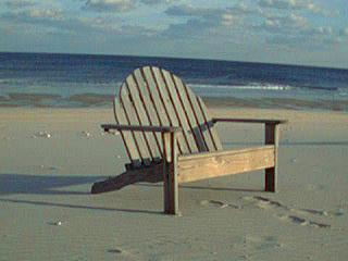 A loveseat on the beach